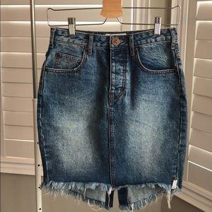 One Teaspoon Distressed 2020 Denim Skirt